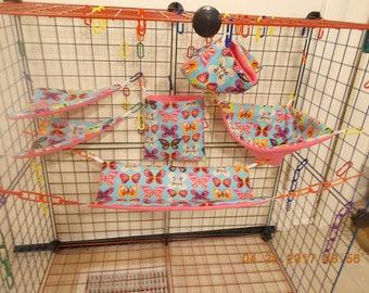 BRIGHT BUTTERFLIES In LINE Sugar Glider 6 Piece Cage Set