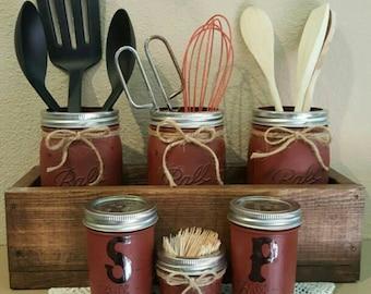 Planter Box Mason Jar Kitchen Set