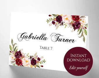 Place Cards, Place Cards Wedding, Place Card Template, PDF Template, DIY Place Cards, Escort Cards, Reserved Seating Card, Marsala Name Card