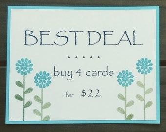 Volume Discount - Quantity Discount - Four Handmade Cards - Your Choice of Four Handcrafted Cards - BEST DEAL!