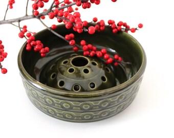 Mid century Jasba ceramics, flower Bowl, ceramic shell, Steckschale, shell, 60 years, green vintage glazed