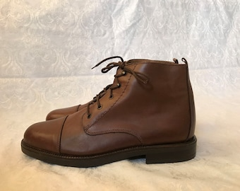 Vintage HUNT CLUB Men's Italian Brown Leather Ankle Boots - Size 13