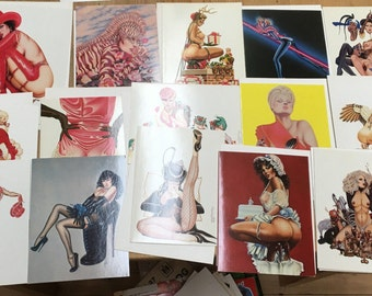 Huge Lot (50) Olivia O Cards Olivia De Berardinis Greeting Cards 1980-1992 Pin-up Cheescake Betty Page Madonna