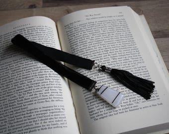 Black Bookmark - White and Black Cabochon