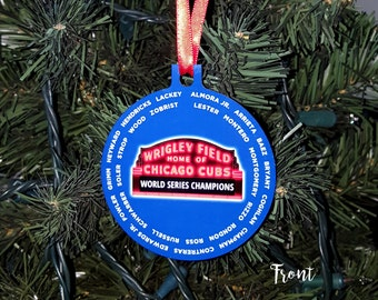Chicago Cubs World Series Champions Ornament with player roster, Baseball Ornament, Christmas Gift, Holiday Gift, Chritsmas Tree Ornament