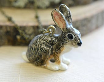 Hand Painted Porcelain Jackrabbit Rabbit Necklace, Antique Bronze Chain, Vintage Style, Ceramic Animal Pendant & Chain (CA014)