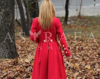 Red Cashmere Coat, Women Wool Winter Coat, Long Jacket, Winter Warm Coat, Long Wool Jacket by Astraea-8004