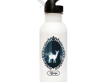 """Harry Potter Snape """"Always"""" Inspired 600ml (20oz) Stainless Steel Water Bottle with Straw Flip Top!"""