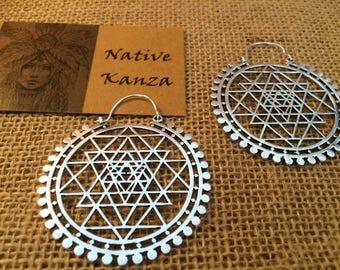 LARGE Sri Yantra Sliver Hoops, Large Brass earrings, Tribal jewellery, Tribal earrings, boho earrings, Sacred geometry jewelry
