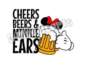 Cheers Beers and Minnie Ears svg studio dxf pdf jpg, Minnie