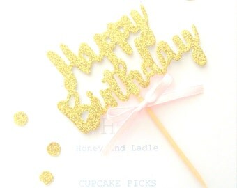 6x HAPPY BIRTHDAY Gold Glitter Cupcake Toppers, food picks, baby girl - Pink Bow