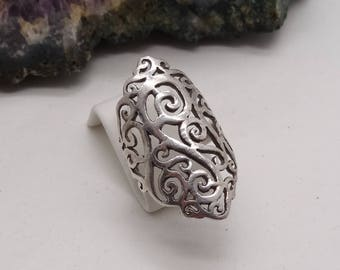Long Ornate Silver Cut out design Statement ring Size N US 6.5