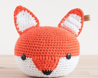 doorstopper, bookends, doorstop, crochet, animal, animal head, orange, fox, cute, handmade, interior, baby, birthday, child, kids, handmade