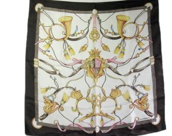 Vintage Liz Claiborne Scarf, 100% Silk, Small Square Scarf, 19 inch