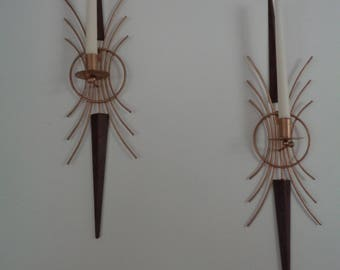 Vintage Retro Mid Century Modern Wall Sconces Candle Holders Brass Plated Steel and Faux Wood Metal