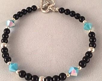 ONYX and Turquoise AB Swarovski Crystal Beaded Bracelet with heart clasp