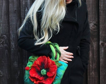 Felted Poppy bag