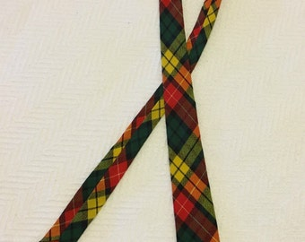 Vintage Gold Seal Mod Tartan Skinny Tie by Jaymore Ltd