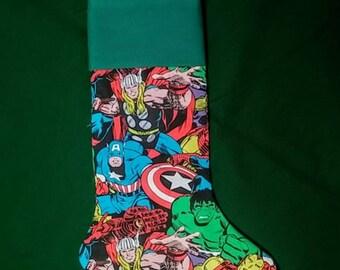 Marvel Avengers Christmas Handmade Fully Lined Christmas Stocking 100% cotton