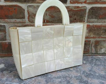 Vintage White Lucite Handbag * Evening Bag * Exceptional Condition
