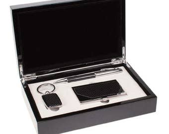Personalized Pen, Business Card Case and Keychain Gift Set With Carbon Fiber Box - G165