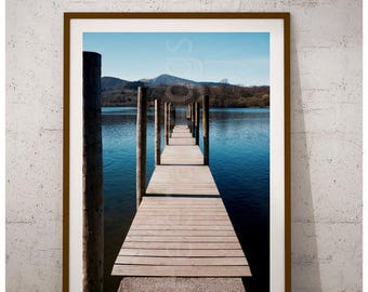 Lake Print, Lake House Decor, Derwent Water Photography, Bathroom Wall Decor, Pier Prints, Harbour Photography, Harbor Photography