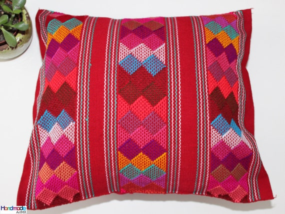 Hand embroidered red cushion pillow cover mexican textile
