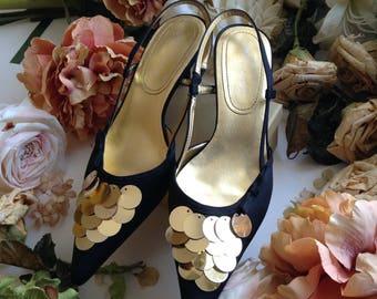 Vintage Nine West Black Satin Gold Sequins Adorned Slingbacks, 6.5 M Size Women Shoes,Formal Shoes,Stylish Evening Shoes,Black Dress Shoes