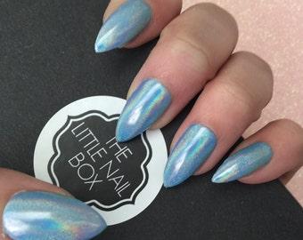 Blue rainbow press on stiletto nails | stick on nails | glue on nails | false nails | fake nails