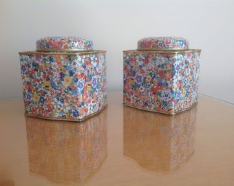 Vintage Chintz Pattern Tins Made in England