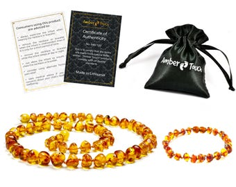 Baltic Amber Baby Teething Necklace and Bracelet (Cognac Color)