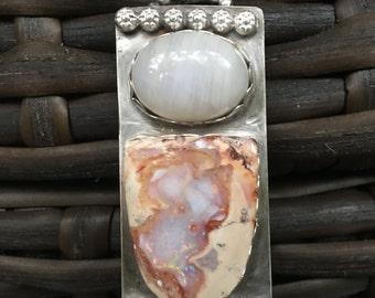 Moonstone/Australian Opal Sterling Silver Pendant