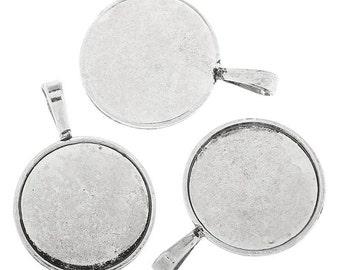 5 Antique Silver Pendant Cabochon Settings 25mm (s17a)