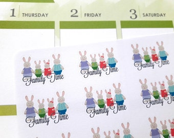 Family time stickers, planner stickers, family stickers, bunny stickers for Erin Condren, Happy Planner, personal size planners, TN