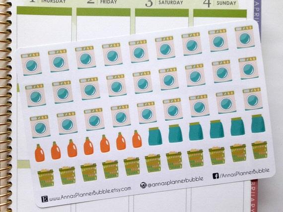 Laundry Stickers Planner Stickers Washing Machine