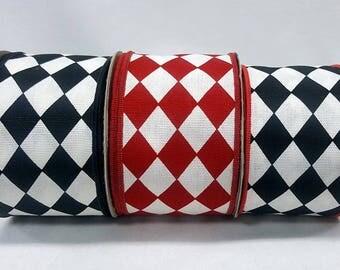 "2-1/2"" Diamond Cotton Wired Ribbon ~ 3 Options of Black, White, Red Harlequin Riibbon ~ Canvas Type ~ ""Jester"" ~ Designer Ribbon  ~ 3 Yards"