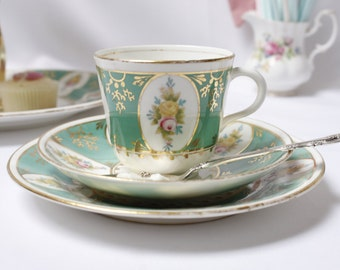 Early English bone china teaset, one cup, one saucer and teaplate, Marie Antoinette, Versailles, faded glory.