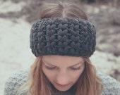 handmade, crochet, designer Headband IDA, anthrazit, wool, winter, hat, ear warmer, ladies, cozy,  available in different colors