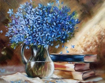 I love to read Oil painting flowers