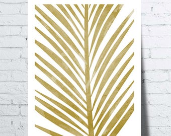 Poster gold tropical, palm leaf, leaf, Palm