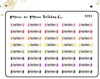 1353~~Heartworm Pet Medication Planner Stickers.