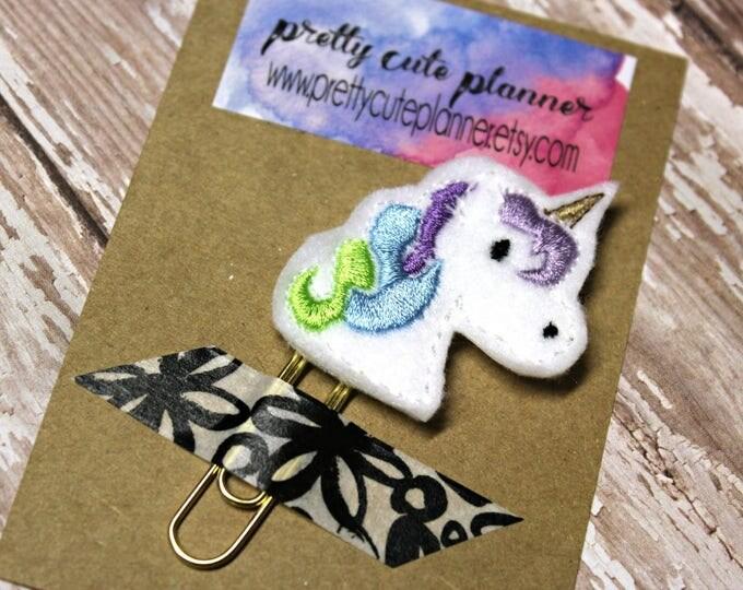 Planner Clip - Planner Bookmark - Unicorn Planner clip -  Planner clip- Felt Planner Clip - Felt Bookmark - Feltie - Paper clip - Unicorn