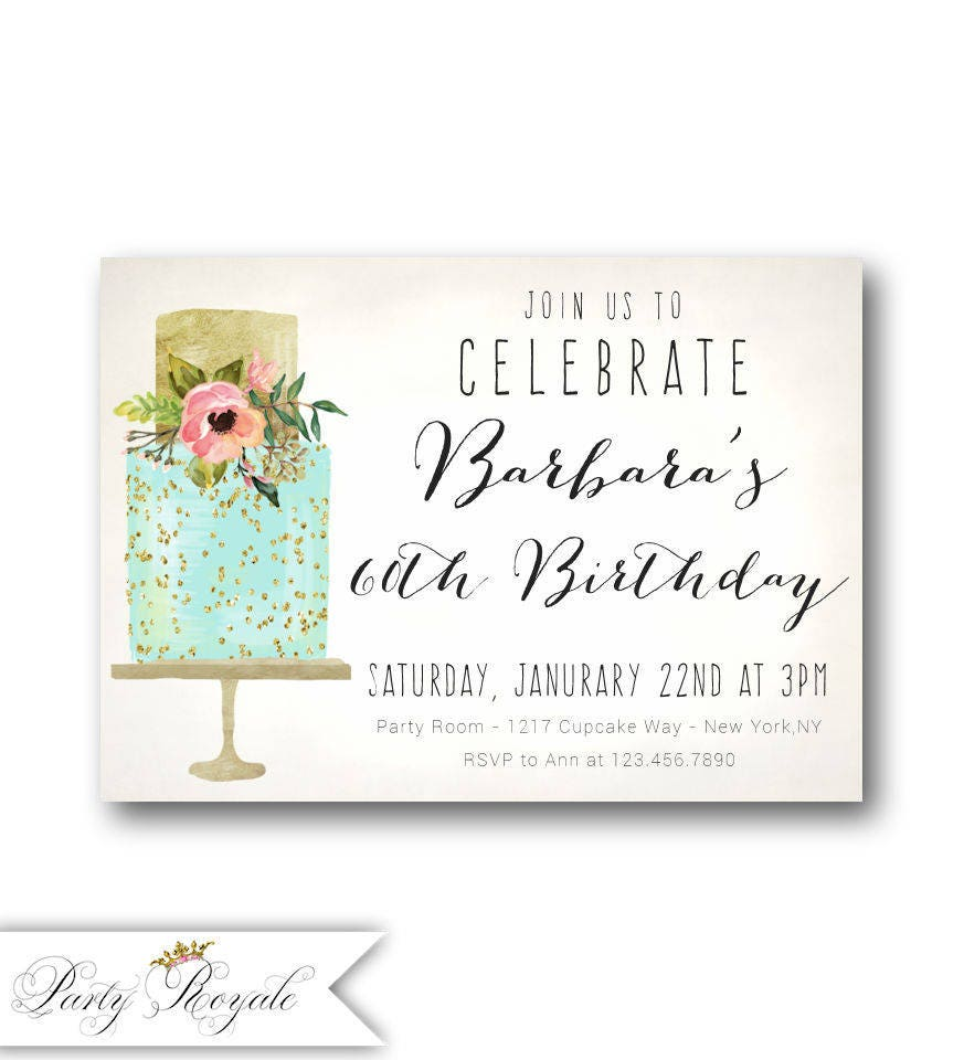 Cake 60th Birthday Invitations For Women / For Her / 40th 50th