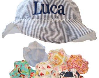 Preppy Monogrammed Infant/Toddler Sun Hat