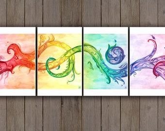Watercolour Art Print - Abstract Rainbow Swirl Set / Zentangle Vines / Handpainted Watercolor Painting / Psychedelic Art