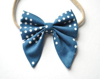 Denim Blue Polka Dot Elle Hairbow-Newborn cotton Hair Bow-Sailor Bow with tails-Baby Headband-Toddler Bow-Nylon Headband-Alligator Clip