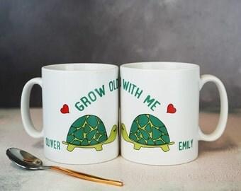 Grow Old With Me Tortoise - Tortoise Gift - Personalised Mug - Valentines mug - Anniversary Mug