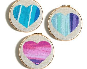 Cross Stitch Pattern, Heart Cross Stitch Modern Cross Stitch, PDF Watercolor Pattern Easy Cross Stitch Wedding Birthday Gift Set 3 in 1