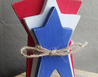 Red White & Blue Rustic Wooden Stars