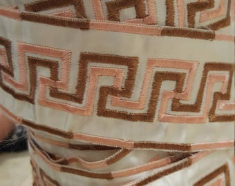 Brown and Pink Greek Key Embroidered Trim
